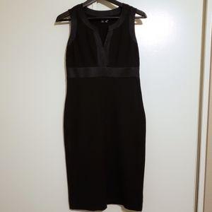 Banana Republic Black Sheath Dress with Silk Trim